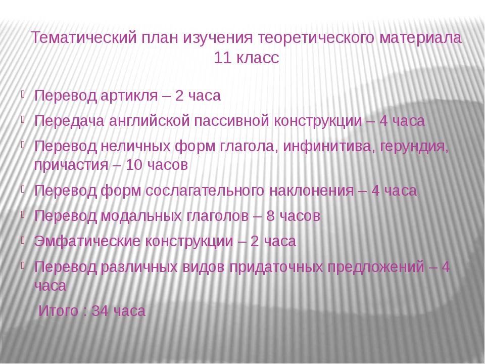 Тематический план изучения теоретического материала 11 класс Перевод артикля...