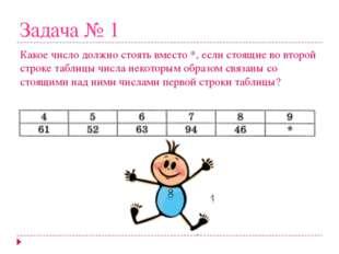 Задача № 1 Какое число должно стоять вместо *, если стоящие во второй строке
