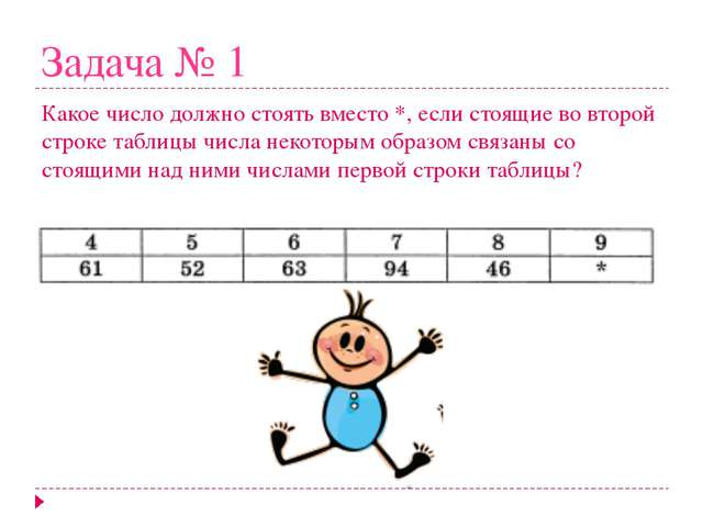 Задача № 1 Какое число должно стоять вместо *, если стоящие во второй строке...
