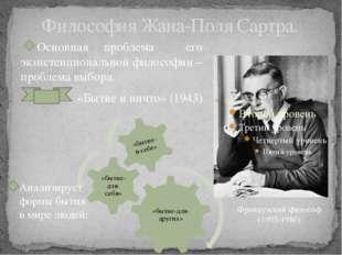 Философия Жана-Поля Сартра. Основная проблема его экзистенциональной философи