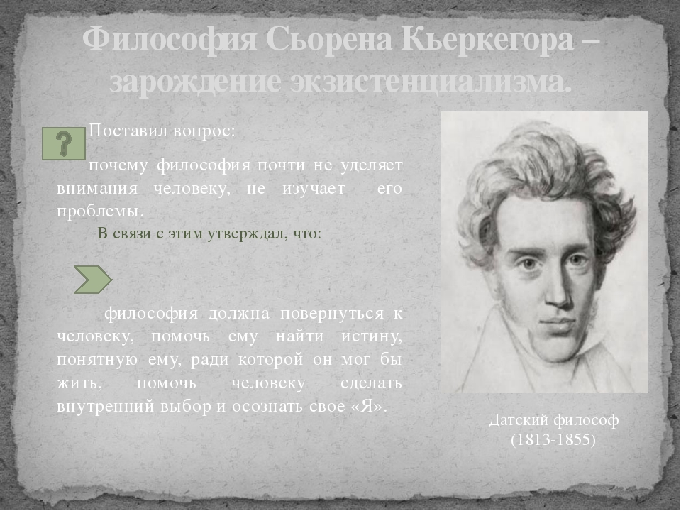 Философия Сьорена Кьеркегора – зарождение экзистенциализма. Поставил вопрос:...