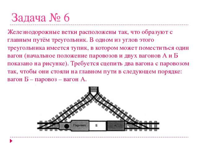 Задача № 6 Железнодорожные ветки расположены так, что образуют с главным путё...