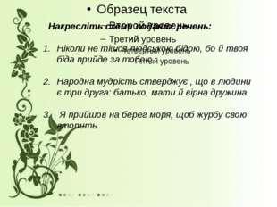 Накресліть схеми поданих речень: Ніколи не тішся людською бідою, бо й твоя б
