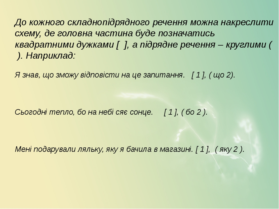 До кожного складнопідрядного речення можна накреслити схему, де головна част...