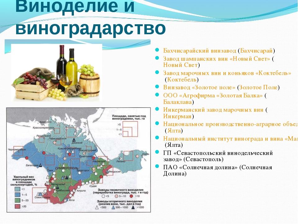 Виноделие и виноградарство Бахчисарайский винзавод (Бахчисарай) Завод шампанс...