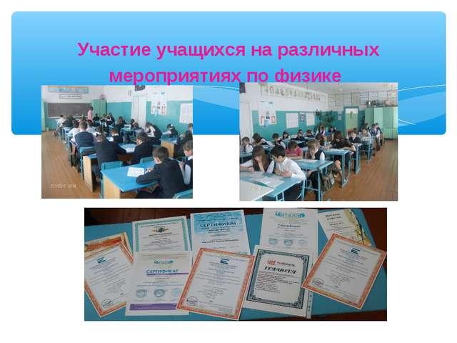 Участие учащихся на различных мероприятиях по физике