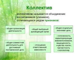 Коллектив коллективом называется объединение воспитанников (учеников), отлича