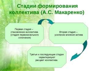 Стадии формирования коллектива (А.С. Макаренко) Первая стадия – становление к