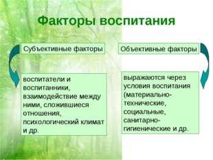 Факторы воспитания выражаются через условия воспитания (материально-техническ