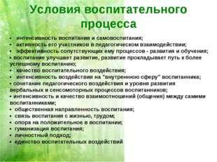 Условия воспитательного процесса • интенсивность воспитания и самовоспитания;
