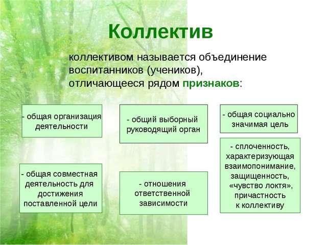 Коллектив коллективом называется объединение воспитанников (учеников), отлича...