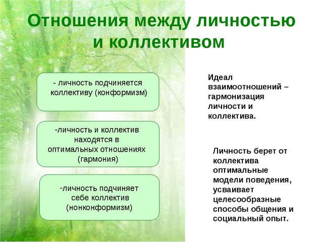 Отношения между личностью и коллективом Идеал взаимоотношений – гармонизация...