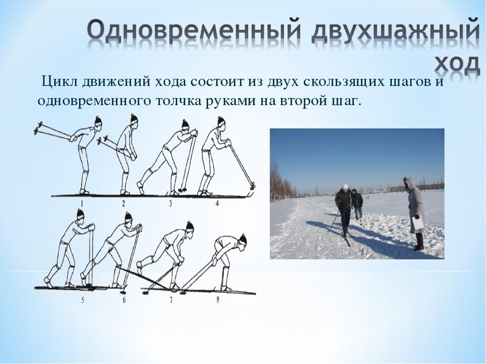 Цикл движений хода состоит из двух скользящих шагов и одновременного толчка...