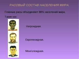 РАСОВЫЙ СОСТАВ НАСЕЛЕНИЯ МИРА. Главные расы объединяют 88% населения мира. Та