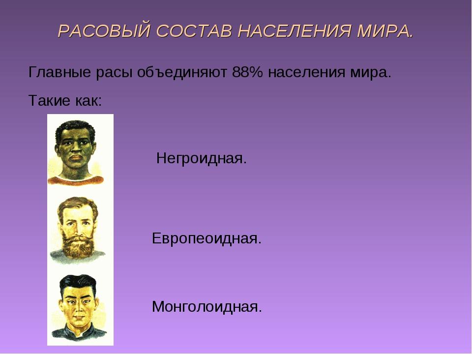 РАСОВЫЙ СОСТАВ НАСЕЛЕНИЯ МИРА. Главные расы объединяют 88% населения мира. Та...