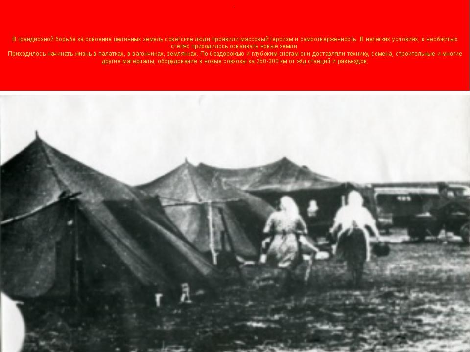 . В грандиозной борьбе за освоение целинных земель советские люди проявили ма...
