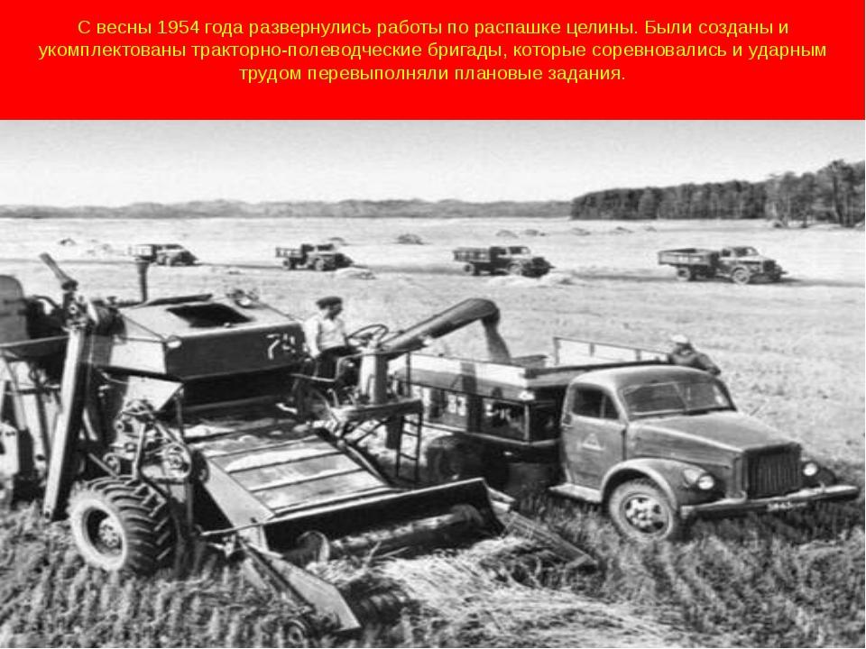 С весны 1954 года развернулись работы по распашке целины. Были созданы и уком...