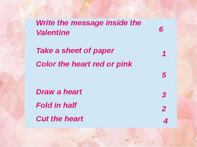 6 1 5 3 2 4 Write the message inside the Valentine Take a sheet of paper Colo...