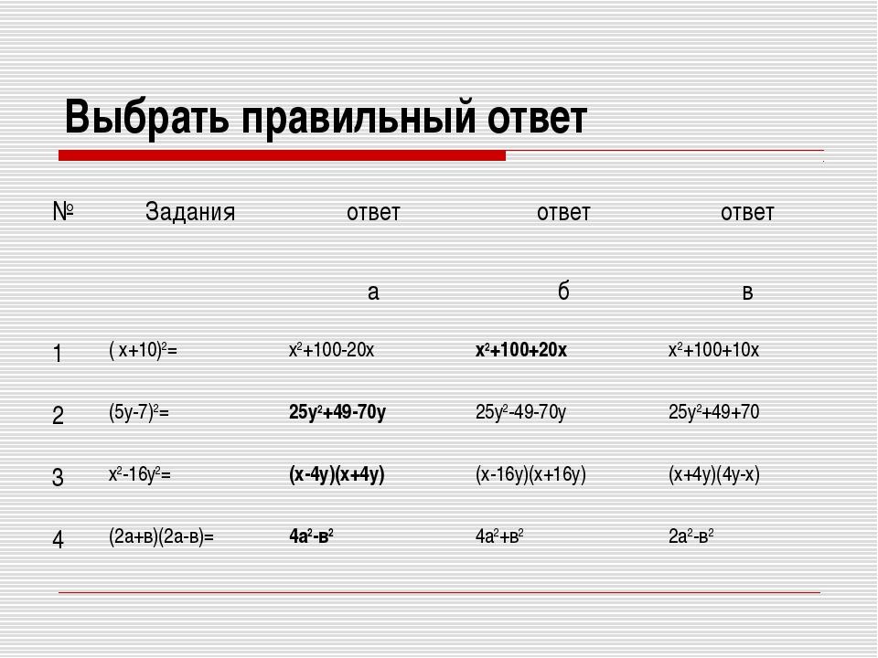 Выбрать правильный ответ №Заданияответответ ответ абв 1( х+10)2= х2...