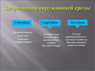 Атмосфера Гидросфера Литосфера Промышленность Транспорт Тепловые электростанц