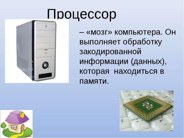 – «мозг» компьютера. Он выполняет обработку закодированной информации (данных...