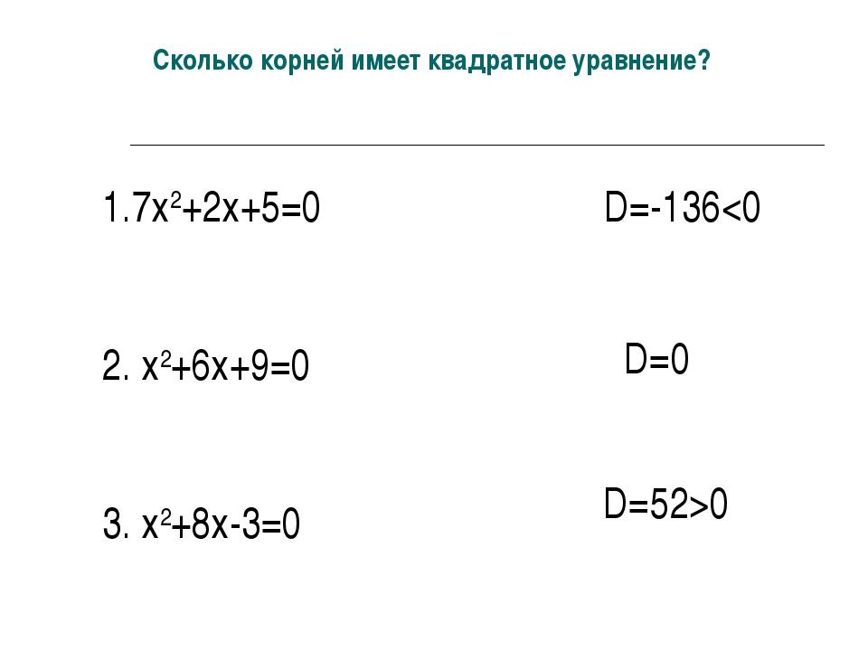 Сколько корней имеет квадратное уравнение? 1.7х2+2х+5=0 2. х2+6х+9=0 3. х2+8х...