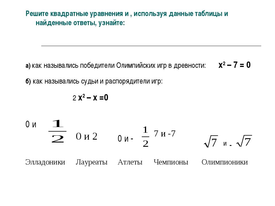 Решите квадратные уравнения и , используя данные таблицы и найденные ответы,...