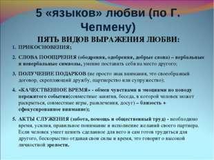5 «языков» любви (по Г. Чепмену) ПЯТЬ ВИДОВ ВЫРАЖЕНИЯ ЛЮБВИ: ПРИКОСНОВЕНИЯ; С