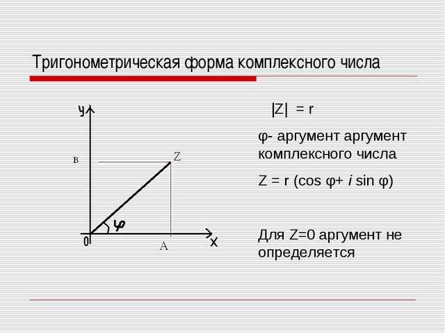 Тригонометрическая форма комплексного числа |Z| = r φ- аргумент аргумент комп...