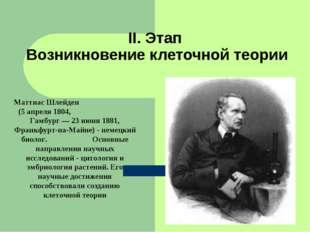 II. Этап Возникновение клеточной теории Маттиас Шлейден (5 апреля 1804, Гамбу