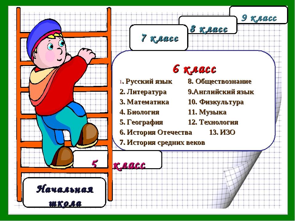 5 класс 6 класс 1. Русский язык 8. Обществознание 2. Литература 9.Английски...