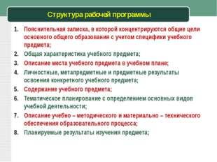Структура рабочей программы Пояснительная записка, в которой концентрируются