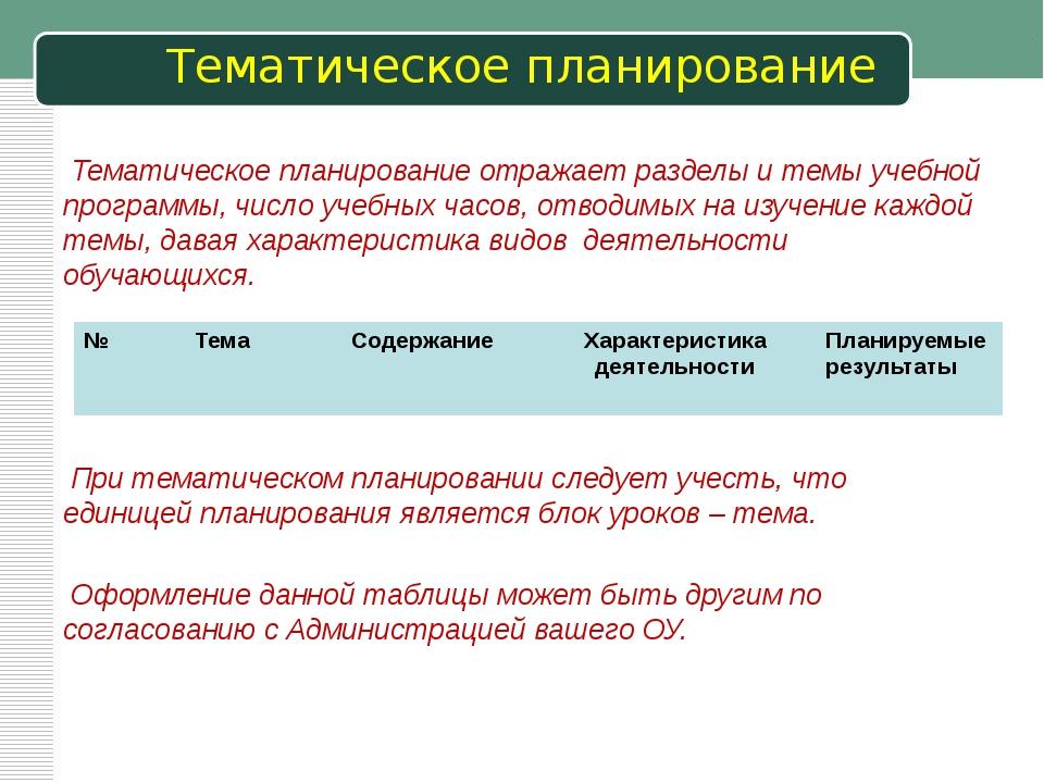 Тематическое планирование Тематическое планирование отражает разделы и темы у...