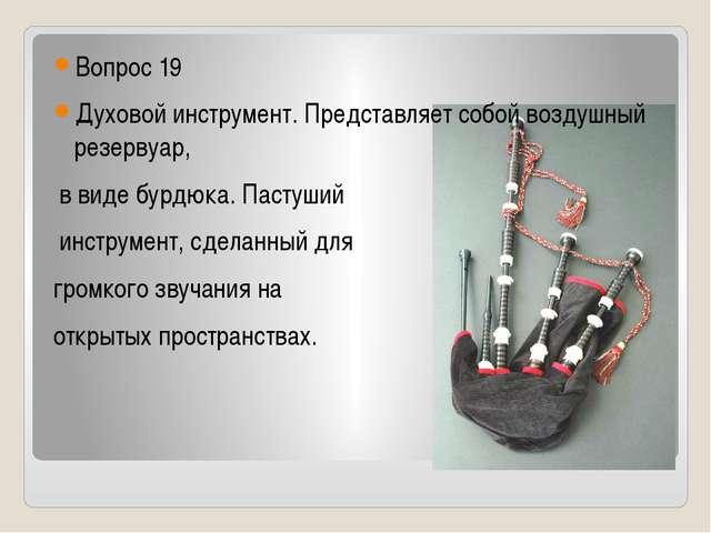 Вопрос 19 Духовой инструмент. Представляет собой воздушный резервуар, в виде...