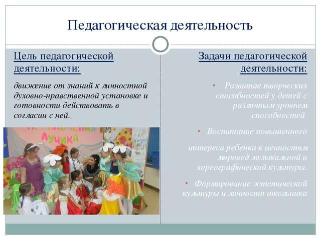 Педагогическая деятельность Цель педагогической деятельности: движение от зна...