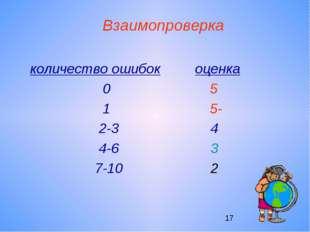 Взаимопроверка количество ошибок оценка 0 5 1 5- 2-3 4 4-6 3 7-10 2