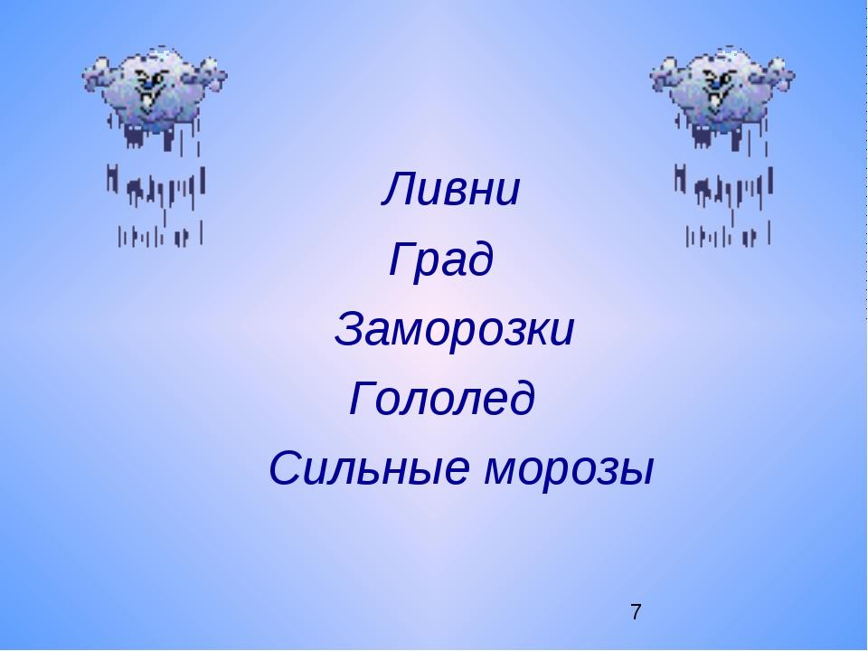Ливни Град Заморозки Гололед Сильные морозы