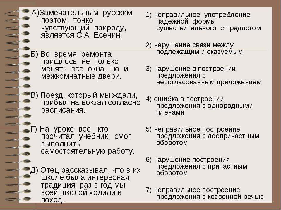 А)Замечательным русским поэтом, тонко чувствующий природу, является С.А. Есе...