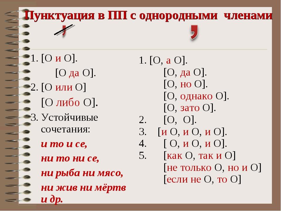 Пунктуация в ПП с однородными членами [О и О]. [О да О]. [О или О] [О либо О...