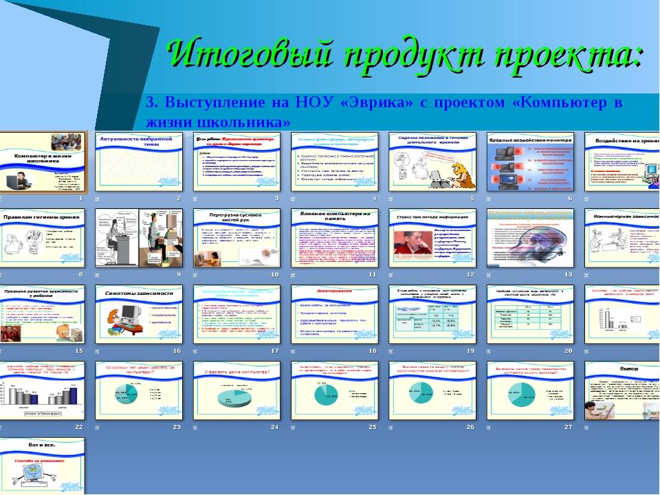 Итоговый продукт проекта: 3. Выступление на НОУ «Эврика» с проектом «Компьюте...