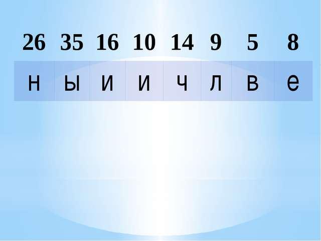 26 35 16 10 14 9 5 8 н ы и и ч л в е