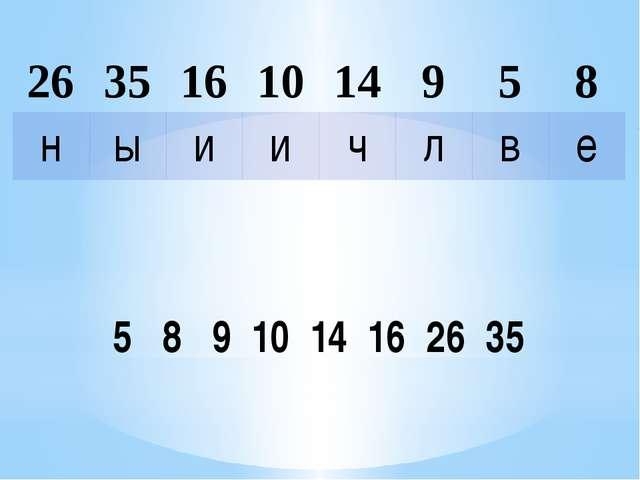 5 8 9 10 14 16 26 35 26 35 16 10 14 9 5 8 н ы и и ч л в е