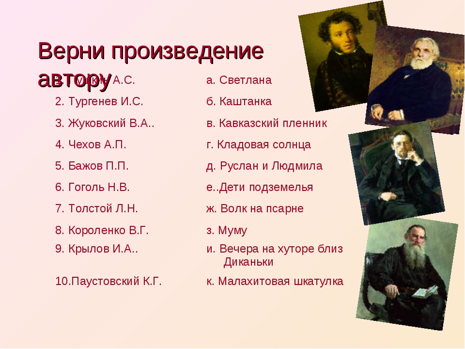 Верни произведение автору 1. Пушкин А.С.а. Светлана 2. Тургенев И.С.б. Кашт...