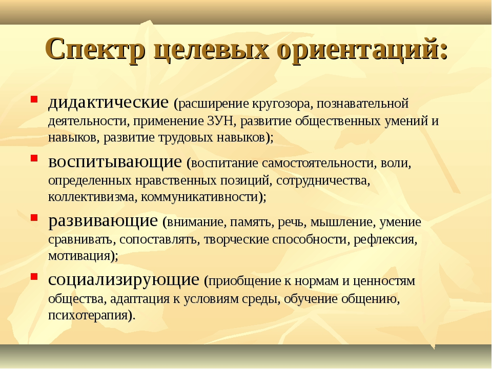 Спектр целевых ориентаций: дидактические (расширение кругозора, познавательно...