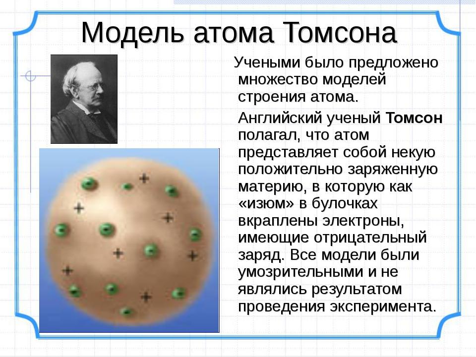 Модель атома Томсона Учеными было предложено множество моделей строения атома...