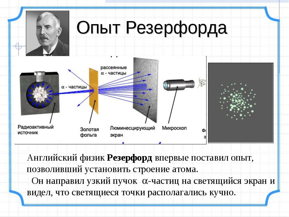 Опыт Резерфорда Английский физик Резерфорд впервые поставил опыт, позволивший...