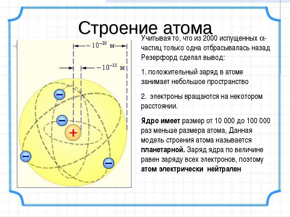 Строение атома Учитывая то, что из 2000 испущенных -частиц только одна отбра...