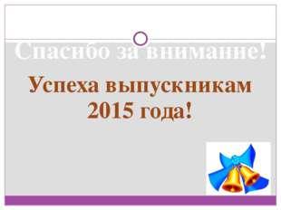 Спасибо за внимание! Успеха выпускникам 2015 года!