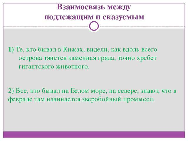 Взаимосвязь между подлежащим и сказуемым 1) Те, кто бывал в Кижах, видели, ка...
