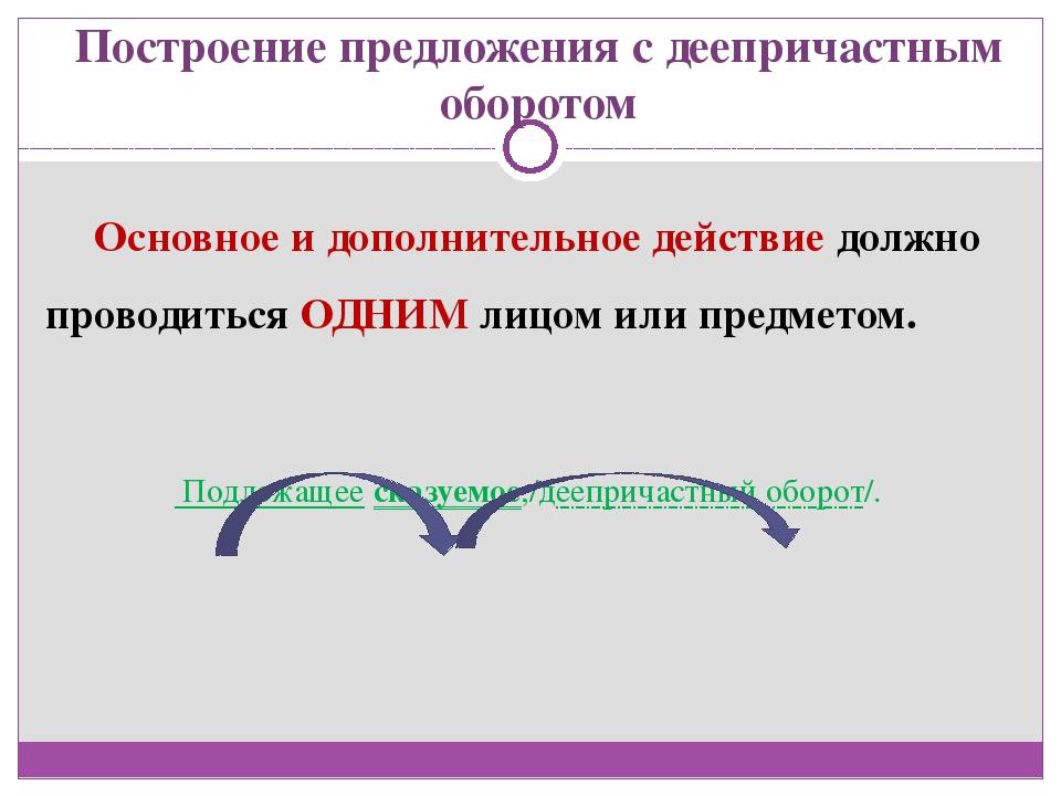 Построение предложения с деепричастным оборотом Основное и дополнительное дей...